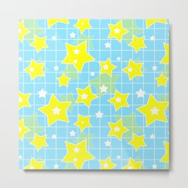 #Yellow #blue #stars Metal Print