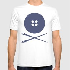 BUTTON SKULL Mens Fitted Tee White SMALL
