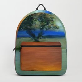 Tree in sunset, painting Backpack