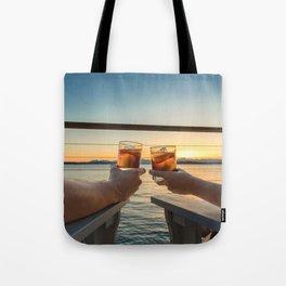 Sailing sunset couple toasting Tote Bag