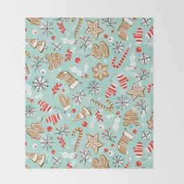 Gingerbread Dreams - Aqua Throw Blanket