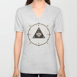 Evil Eye Mandala – Black Unisex V-Neck