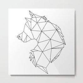 Geometric Wolf (Black on White) Metal Print