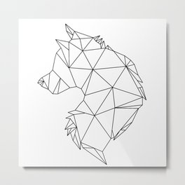 Geometric Wolf (Black on White) Metal Print