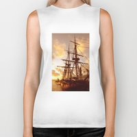 pirate ship Biker Tanks featuring PIRATE SHIP :) by Teresa Chipperfield Studios
