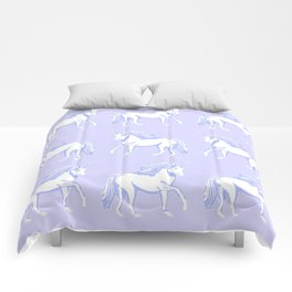 Lavender and White Unicorns Pattern Comforters