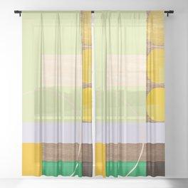 Geometric and Wood Sheer Curtain