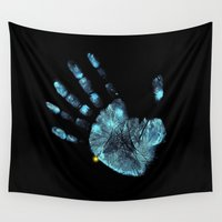 moriarty Wall Tapestries featuring Hand Print by neutrone