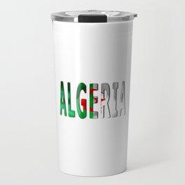 Algeria Word With Flag Texture Travel Mug