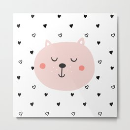 Scandinavian Cute Bear Metal Print