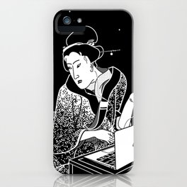 Young woman makes a video call iPhone Case
