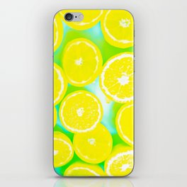juicy yellow lemon pattern abstract with green background iPhone Skin