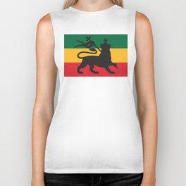 rastafarian flag with the lion of judah (reggae background) Biker Tank