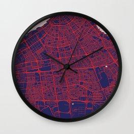 Kuwait City, Kuwait, Blue, White, City, Map Wall Clock