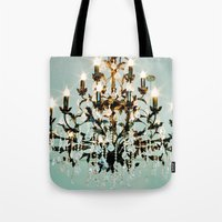 chandelier Tote Bags featuring Chandelier. by heather cherie