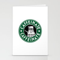 dalek Stationery Cards featuring Dalek Caffeinate by ThePhantomMoon