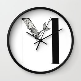 Mermaid Alphabet - M Wall Clock