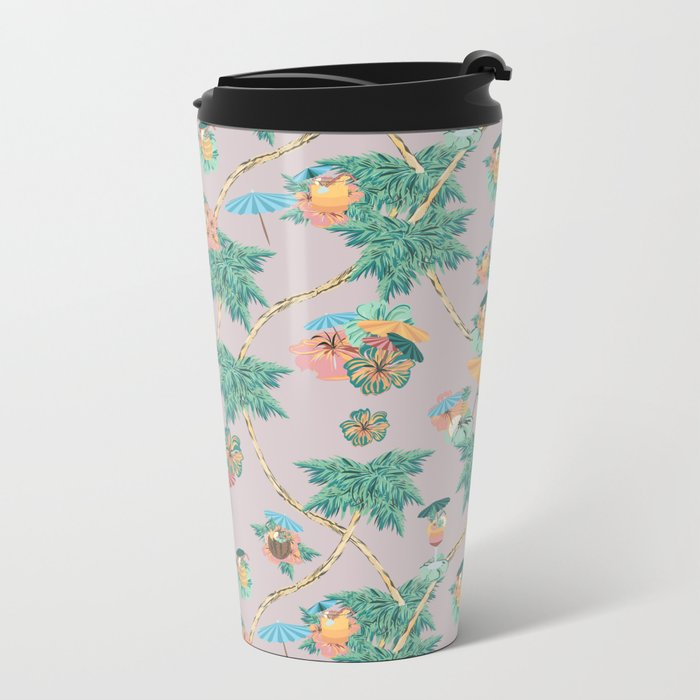 Dusty pink tropical drinks Metal Travel Mug