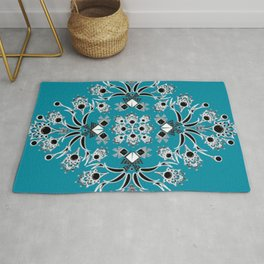 Teal Peacock Feather Inspired Square Rug