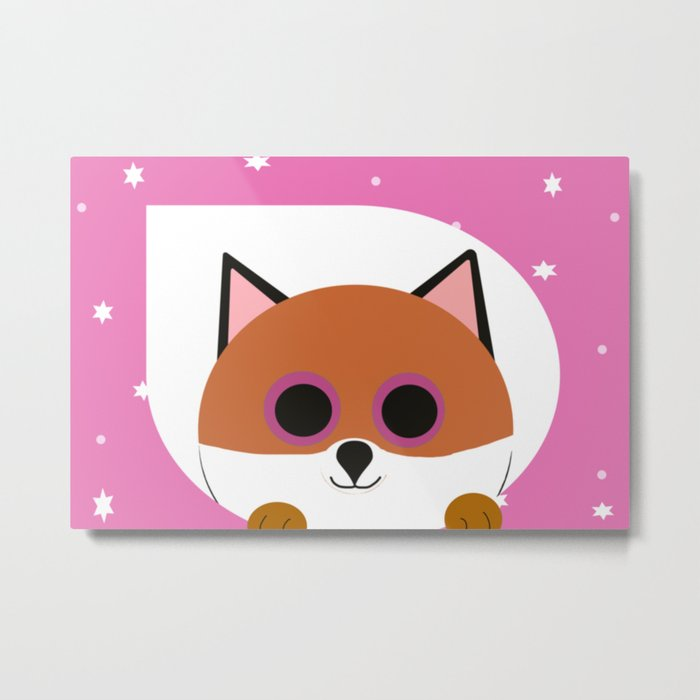 Fox Pink Metal Print