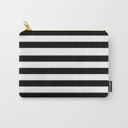 Black and white solid stripes Carry-All Pouch