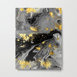 Black Marble Gold Metal Print