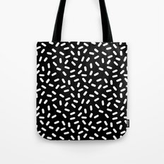 Bingo - black and white sprinkle retro modern pattern print monochromatic trendy hipster 80s style Tote Bag