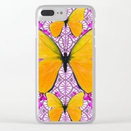 FUCHSIA COLORED  ORCHIDS &  YELLOW  BUTTERFLY FLORAL Clear iPhone Case