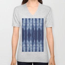 Blue shibori scratched Unisex V-Neck