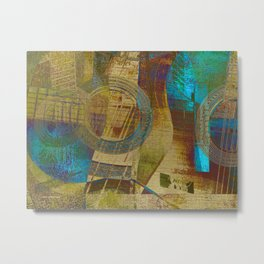 Guitar Study Blue Green Yellow Gold Metal Print