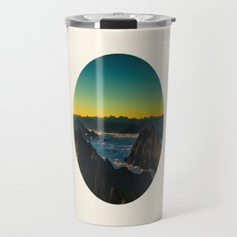 Yellow & Teal Turquoise Ombre Sunrise over Mountain Range Travel Mug