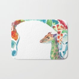Mummy and Baby Giraffe College Dorm Decor Bath Mat