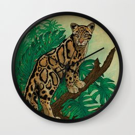 Clouded Leopard in the Jungle Wall Clock