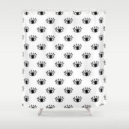 Graphic Black and White Eye Pattern Shower Curtain