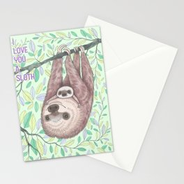 I Love You a Sloth Stationery Cards