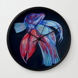 Male Siamese Fighting Fish Betta Splendens Wall Clock