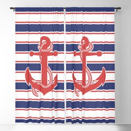 Sailor Stripes and Anchor Pattern 13 Blackout Curtain