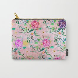 Painterly Rosey Floral Carry-All Pouch