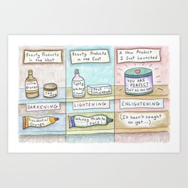 Beauty in the East vs. West -Skin Cream Art Print