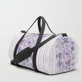 Watercolor purple lavender lilac floral stripes Duffle Bag