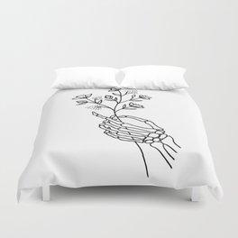 Skeleton Hand Holding Wildflowers Design Duvet Cover