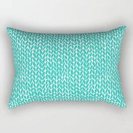Hand Knit Aqua Rectangular Pillow