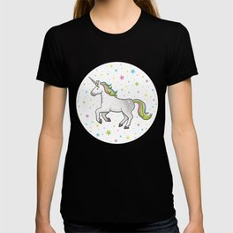 Unicorns and Stars - White and Rainbow scatter pattern T-shirt