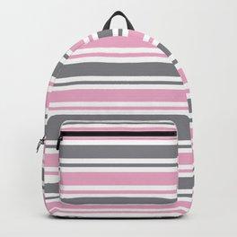 Pastel Pink & Gray & White Stripe Pattern Backpack
