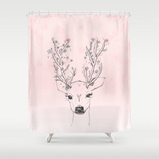 Cute Handdrawn Floral Deer Antlers Pink Watercolor Shower Curtain
