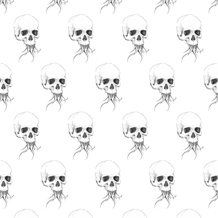 Skull with Tentacles Duvet Cover