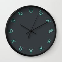 zodiac Wall Clocks featuring Zodiac Symbols by Merlin