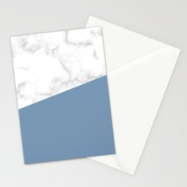 marble and ocean blue Stationery Cards