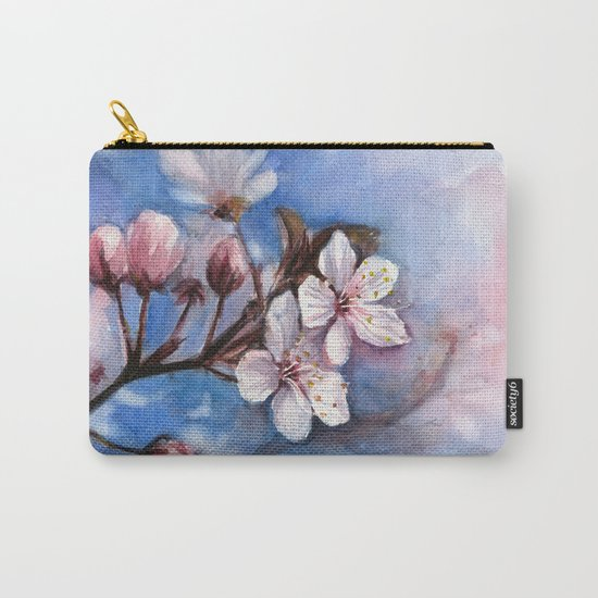 Cherry Blossoms Watercolor Spring Flowers Carry-All Pouch