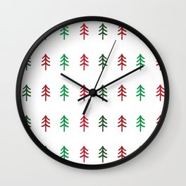 Hand drawn forest green and red trees for Christmas time Wall Clock